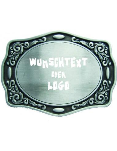 Gürtelschnalle mit Text / Logo Gravur